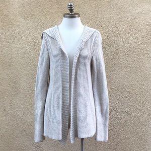 Eileen Fisher Linen/Cotton Hooded Knit Cardigan